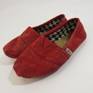 Toms Corduroy Red Shoes 6W Women's Size 6